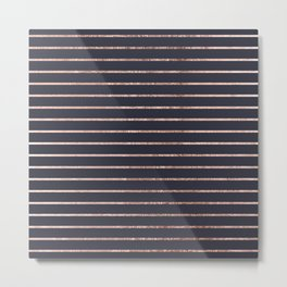 Elegant Chic Rose Gold Stripes and Navy Blue Metal Print