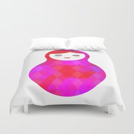 Russian doll matryoshka screw up one's eyes with bright rhombus on white background, pink colors Duvet Cover