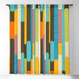 Retro Color Block Popsicle Sticks Blue Blackout Curtain