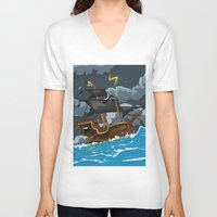 pirate ship V-neck T-shirts featuring Pirate Ship in Stormy Ocean by Nick's Emporium