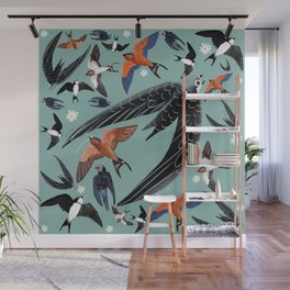 Swallows Martins and Swift pattern Turquoise Wall Mural