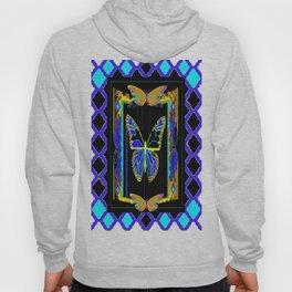 Artistic Butterflies in Decorative Purple-Aqua Lattice frame Black, & Gold Abstract Hoody