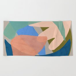 Shapes and Layers no.30 - Large Organic Shapes Blue Pink Green Gray Beach Towel