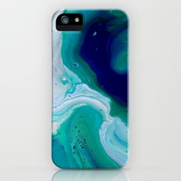 Abstract Mable Colorful Blue Turquoise Fluid Acrylic Painting Design iPhone Case