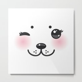 Kawaii funny albino animal white muzzle with pink cheeks and winking eyes Metal Print