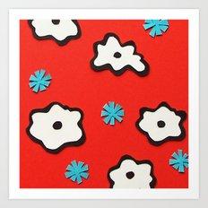 Dutch Flowers on Red Art Print