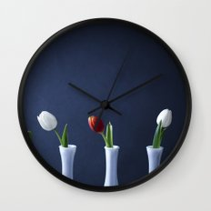 Tulips in Bud Vases Wall Clock