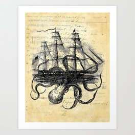 Kraken Octopus Attacking Ship Multi Collage Background Art Print