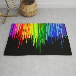 Rainbow Paint Drops on Black Rug