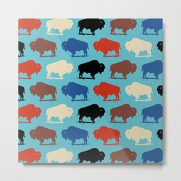 Colorful Buffalo Bison Pattern 279 Metal Print