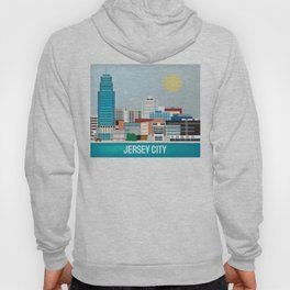 Jersey City, New Jersey - Skyline Illustration by Loose Petals Hoody
