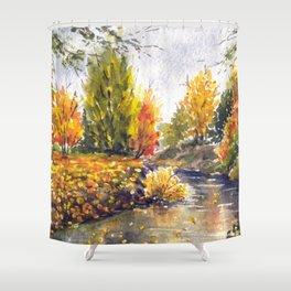 River in autumn watercolor landscape sketch Shower Curtain