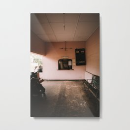 Pink pastel train station desk - Sri Lanka travel photography print Metal Print