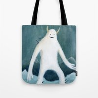yeti Tote Bags featuring Yeti by Monster Tea Party