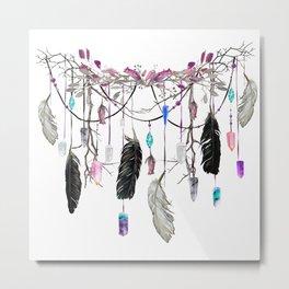 Raven Feathers And Roses Crystal Spirit Gazer Metal Print