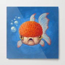Grumpy Goldfish Metal Print