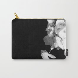 White Orchids Black Background Carry-All Pouch