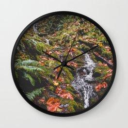 PNW Fall Waterfall Wall Clock