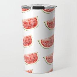 Watercolor Watermelon Slices Pattern Travel Mug