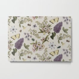 spring flowers with butterfly and beetles II Metal Print