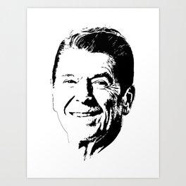 Ronald Reagan Minimalistic Pop Art Art Print