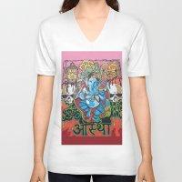 hindu V-neck T-shirts featuring Hindu God by Vic Piano