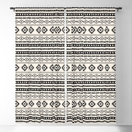 Aztec Black on Cream Mixed Motifs Pattern Blackout Curtain