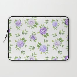 Hand painted lavender violet green watercolor floral Laptop Sleeve
