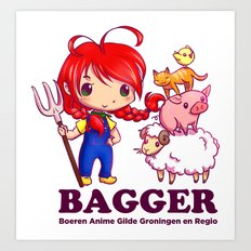 BAGGER Lotje and the farm animals Art Print