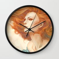 artgerm Wall Clocks featuring Pepper Breeze New by Artgerm™