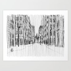 Fog and Rain: Cityscape (WHITEOUT) Art Print