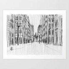 Fog and Rain: Cityscape (WHITEOUT) Art Print