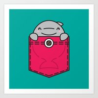 pocket Art Prints featuring Pocket Dolphin by Steven Toang