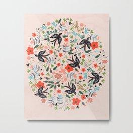 Around The Garden on Pink Metal Print