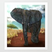 african Art Prints featuring African Elephant by Ben Geiger