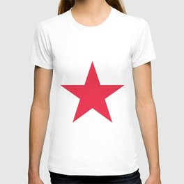 Single red star on white T-shirt