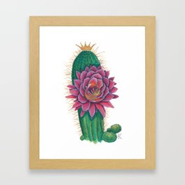 Crowned Cactus with Pink Flower Blossom Framed Art Print