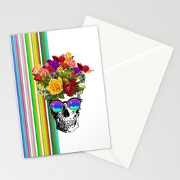 Colorful Cool Hip Skull with flowers Stationery Cards