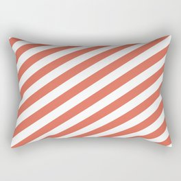 Pantone Living Coral Stripes Fat Angled Lines - Stripes Rectangular Pillow