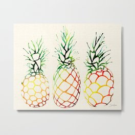 Burlap Pineapples Metal Print