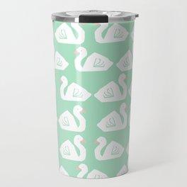 Swan minimal pattern print mint and white bird illustration swans nursery decor Travel Mug