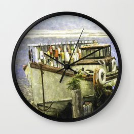 Watercolor Of An Old Fishing Ship Wall Clock