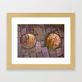 Water Meter Caps, from my street photography collection Framed Art Print