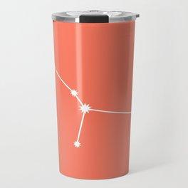 Cancer Zodiac Constellation - Coral Red Travel Mug