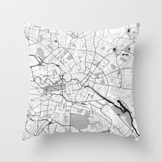 Berlin Map Gray Throw Pillow