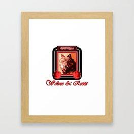 Wild Spirit - Wolves and Roses Framed Art Print