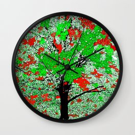 TREE RED AND GREEN LEAF Wall Clock