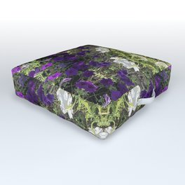 Icy White and Rich Violet Petunias Kaleidoscope Outdoor Floor Cushion