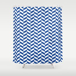 Cobalt Blue Herringbone Pattern Design Shower Curtain