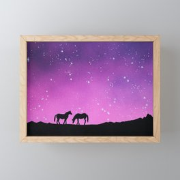 Horses Silhouette Framed Mini Art Print
